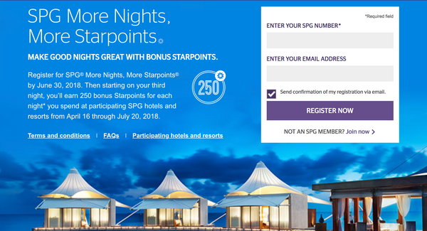SPG More Nights, More Starpoints from April 16 - July 20